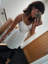 Stunning white strappy crochet sides floaty white boho summer dress! Size 12