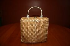 Vintage 1960s Handbag Purse Wicker Woven Vinyl with Gold Twist Handle