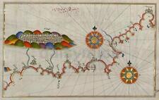 Mapa Antiguo de la costa de Andalucía y Granada, España, reimpresión 7x5 Pulgadas