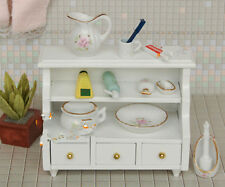 1:12  Puppenhaus Miniature White bathroom side cabinet with three drawers