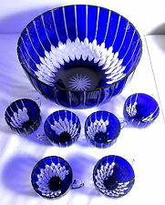 GORGEOUS AKJA HUNGARY COBALT CUT TO CLEAR PUNCH BOWL & 6 CUPS ORIGINAL BOX