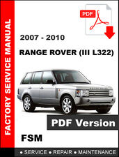 LAND ROVER RANGE ROVER III L322 2007 2008 2009 2010 FACTORY OEM SERVICE MANUAL