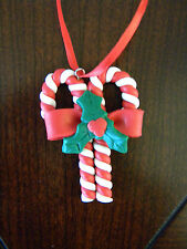 Polymer Clay Dough Handmade Christmas Ornament Candy Cane Ribbon Holly Leaf Red