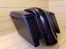 """SADDLEBAGS 4"""" WITH DUAL CUT OUTS,LIDS AND  REAR LED LIGHT FENDER INCLUDED FOR HD"""