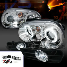 Fit 99-04 Golf MK4 Chrome LED Dual Halo Projector Headlights+Clear Fog Lamps