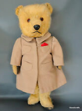 "Chiltern Hugmee Teddy Bear 16"" Gold Mohair Plush c1950s in Overcoat Custom Sewn"