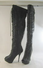 """Blacks 5.5""""Stiletto high heel open toe front lace up sexy thigh high boot Size 8"""