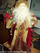 "STANDING CHRISTMAS  SANTA 16"" H (40.6 CM )WITH RED VELVET GOWN HOLDING PACKAGES"