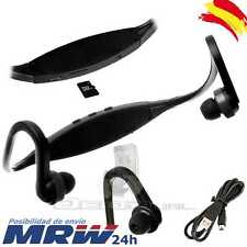 Auriculares Reproductor MP3 Deportivos Sin Cables Micro SD USB Radio FM Negro