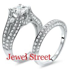 Jewelry White Princess Diamond Bridal Set 925 White Silver Engagement Ring New@@