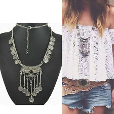 Pop Gypsy Ethnic Tribal Turkish Boho Coin Long Chain Gem Necklace Tassel Pendant