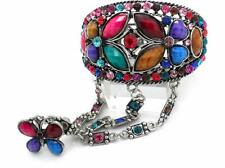 Butterfly Crystal Bangle Ring Cuff Women Slave Bracelets Silver Tone Plated NEW