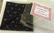 Rare Retired Holiday Holly Vera Bradley Set Of 4 Cocktail Napkins Mint Condition