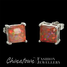 8X8 SQUARE LAB MEXICAN BROWN FIRE OPAL CABOCHON SILVER SF JEWELRY STUD EARRINGS