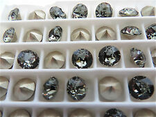 24 Black Diamond Foiled Swarovski Crystal Chaton Stone 1088 29ss 6mm