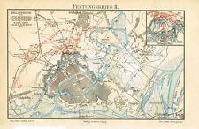 Karte BELAGERUNG von STRASSBURG 1870 Original-Farb-Holzstich von 1887