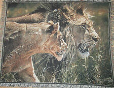 "LIONS BIG CATS SAFARI Afghan Throw Blanket Tapestry 48"" X 63"""