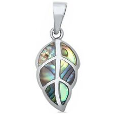 Abalone Shell Leaf .925 Sterling Silver Pendant