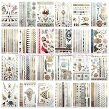 US SELLER- 20 sheets wholesale temporary metallic flash tattoo fake tatoos