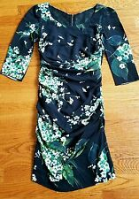 Dolce & Gabbana Lily of the Valley Black Floral Print Ruched Dress US 0 2  IT 38