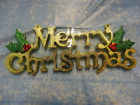 LARGE MERRY CHRISTMAS PLAQUE DOOR DECORATION 48CM RED GOLD OR SILVER