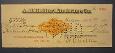 1898 HELENA MONTANA  Bank Check - Revenue Stamp - A.M. Holter Hardware Co.