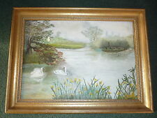 Original Landscape Lake Swans Oil Painting on Canvas Board - Wood Frame & Signed