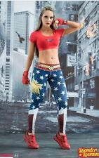 NEW!! FIBER Wonder  Woman Athletic Apparel spandex Leggings Gym New yoga