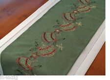 "Christmas Embroidered Baubles Green Table Runner 14"" x 72"""