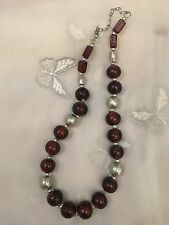 "Old Glass Beaded Necklace Ruby Red & Silver 20"" Adjustable Length Hook Fastening"