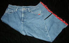 Girls Jordache Capri Pants Jeans 14 Cropped Embroidered Cherries Beaded Fringe