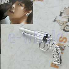 Punk Vintage Gun White Gold Plated Alloy Cool Earrings Ear Stud Mens Unisex TW