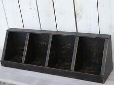 Primitive handmade painted wooden divided bin  box/corner shelf home decor black