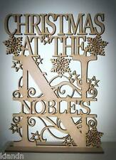 "Free standing Personalised""CHRISTMAS AT THE ?"" 3mm MDF blank craft Plaque/sign"