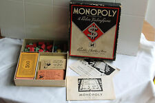 1935 1936 Monopoly $ Game Parts Woooden Buildings Instructions Junior Edition