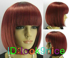 BOB style Dark Red Straight Bang short Straight Wig wigs + Free Wig Cap