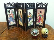 Small Asian Lot - Screen With Girl and Flowers - 2 Painted Panda Glass Globes!!
