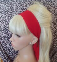 PLAIN RED COTTON FABRIC HEAD SCARF HAIR BAND SELF TIE BOW 50s 60s RETRO STYLE