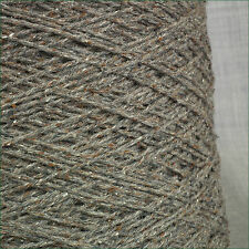 4 PLY LAMBSWOOL & SILK BOURETTE OATMEAL TWEED BROWN WOOL  YARN 500g CONE 10BALLS