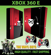 XBOX 360 E HARLEY QUINN LOGO RED BLACK BATMAN STICKER SKIN & 2 PAD SKIN