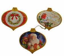 30 Luxury Christmas Foiled Gift Tags Xmas Wrap Labels Santa ,Robin & Wreath