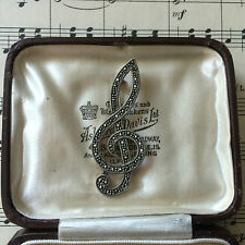 Vintage Estilo Art Deco Plata esterlina Marcasita Treble Clef Nota Musical Broche Regalo.