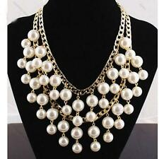 2 Broke Girls Caroline inspired Gold and Cream Pearl pendant Chain necklace new