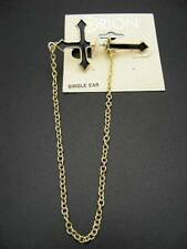 $18 Orion Tunnel Single Front/Back Earring Cross Chain Black Enamel Goldtone