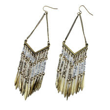 Women's Vintage Bohemian Boho Style Leaves&Beads Tassel Bronze Dangle Earrings