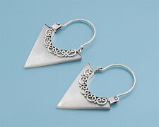 Drop Triangle Earrings with Mother of Pearl Sterling Silver 925 Jewelry Gift