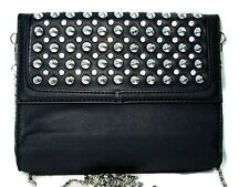 Faux Leather Purse Black Silver Metal Spike Studs Crystal Accents