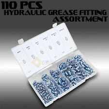110PC Hydraulic Grease Metric Fitting Assortment Lube Lubrication Assorted Zerk