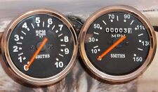 Smiths replica speedometer + Tachometer (Set) Triumph Black Face Chrome Bezel