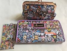 NWT TOKIDOKI ROMA Long Zipper Close Wallet & Kisslock Coin Purse w Rose Gold